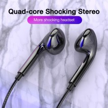 Quad-core Mobile Wired Headphones In-Ear 3.5mm Sport Earbuds with Bass Phone Earphone Wire Stereo Headset Mic Music Earphones