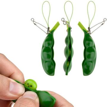 Kawaii Squishy Peas In A Pod Keyring Edamame Keychain Cute Mochi Bean Fidget Toy Squishy Toy Fidget Toys Stress Relief