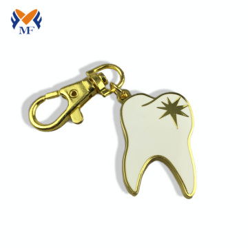 Metal teeth shape custom gold keychain