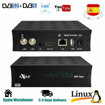 Axas His Twin DVB-S2/S HD Enigma 2 Satellite TV Receiver WiFi + Linux E2 Open ATV H.265 TV Box Fat Decoder