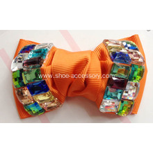 Popular Fabric Flower Shoe Clips with Color Crystal Adorn