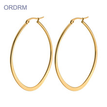 Ladies Simple Flat Gold Oval Hoop Earrings