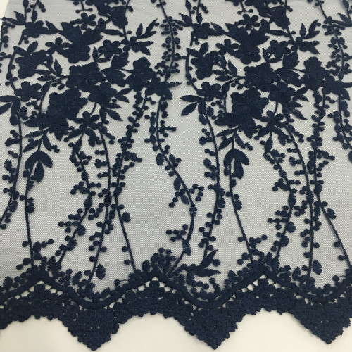 2019 Graceful Navy Poly Mesh Embroidery Fabric