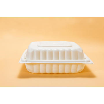 "8"" Disposable Microwave Safe White Lunch Box"