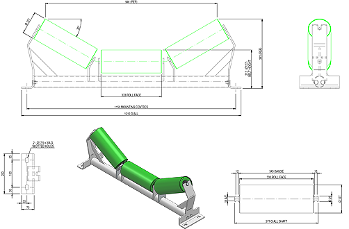 Troughing Idler Drawing