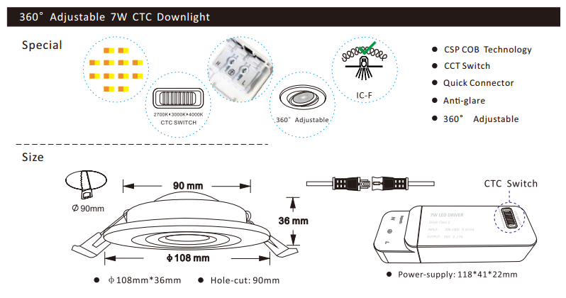led down light features