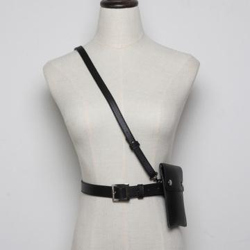 Fashion leather Waist belts Pack Luxury Designer Small Women Waist suspender Phone Pouch Punk Belt strap bag accessories