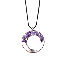 Healing Tree Of Life Pendant Wrapped Amethyst