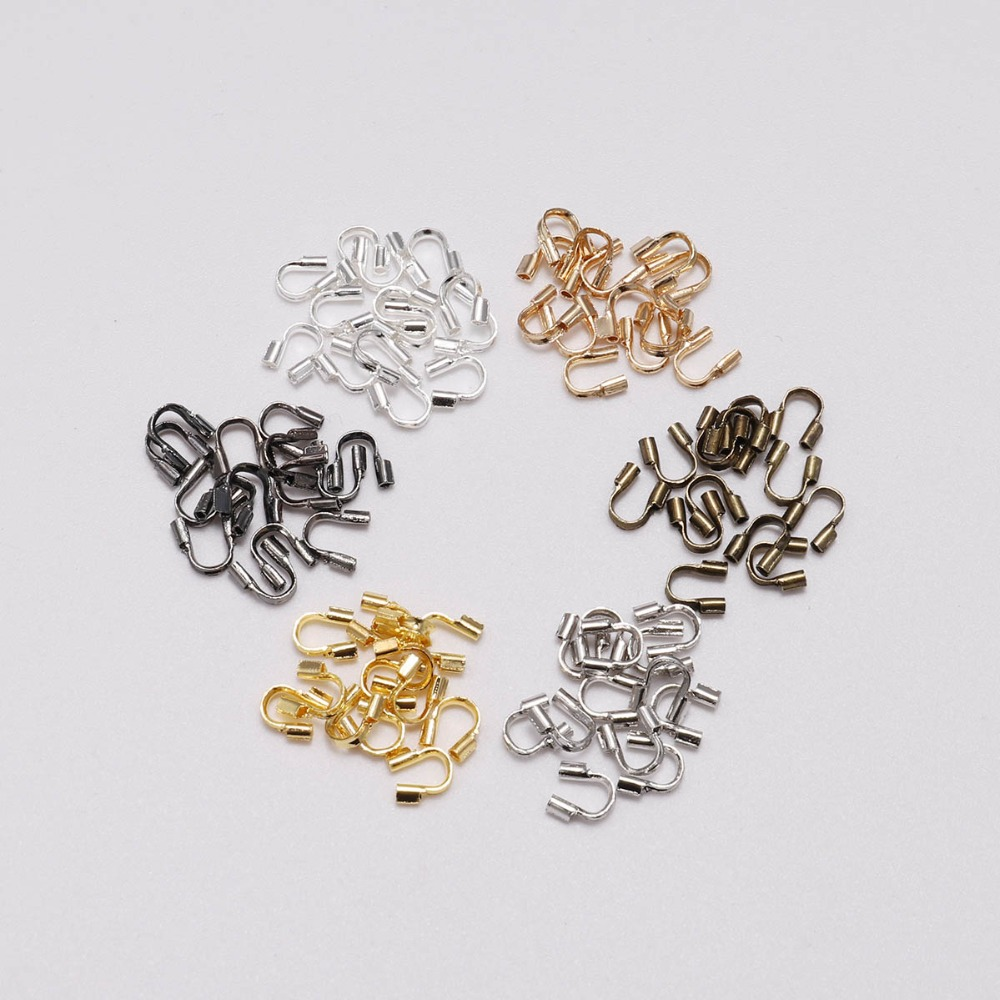 100Pcs/Bag 4.5*4mm Wire Protectors Wire Guard Guardian Protectors Loops U Shape Connector Accessories For Jewelry Making Finding