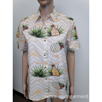 Mens cotton digital print short sleeve shirt