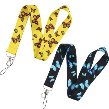 Butterfly Mobile Phone Straps Keychain Lanyards For Keys USB ID Badge Holder Neck Strap Keycord Webbing Ribbon DIY Hang Rope