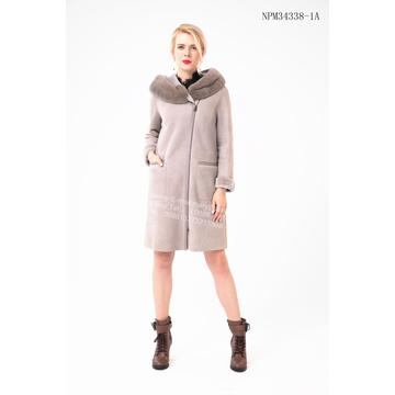 Women Bias Zipper Spain Merino Shearling Coat