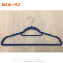 Blue Anti-slip Velvet Coat Hanger With Bar