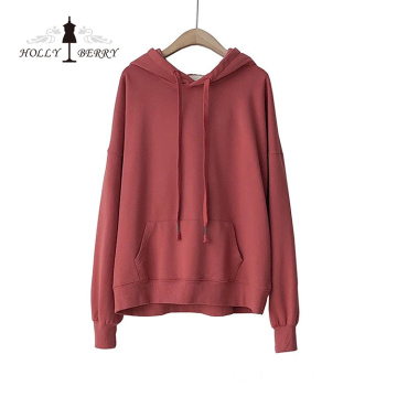 Eco-friendly 100%Cotton Custom Women Hooded Plus Size Hoodie