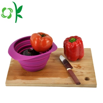Decorative Silicone Foldable Basket for Fruits Strainer
