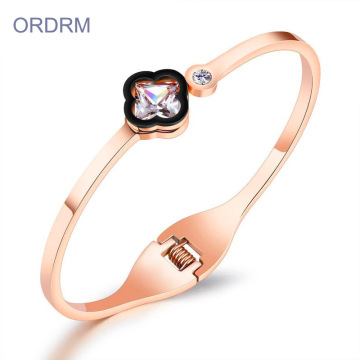 New Fashion Cubic Zirconia Rose Gold Bangle Bracelet