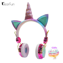 Cute Unicorn Wired Headphone With Microphone Girls Daugther Music Stereo Earphone Computer Mobile Phone Headset Kid Gift, or box