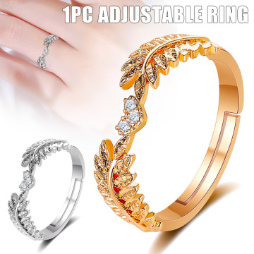 Newest Fresh Sweet Leaf Adjustable Ring Female Light Luxury Olive Branch Finger Ring