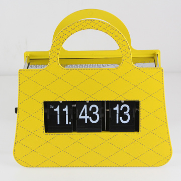 Yellow Mental Handbag Flip Clock