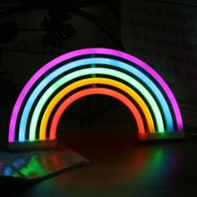 Creative Rainbow Neon Sign LED Rainbow Light Lamp For Dorm Decor Rainbow Decor Neon Lamp Wall Decor Lights Christmas Bulb Tube