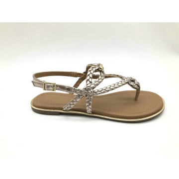 Ladies metallic pu woven upper sandal