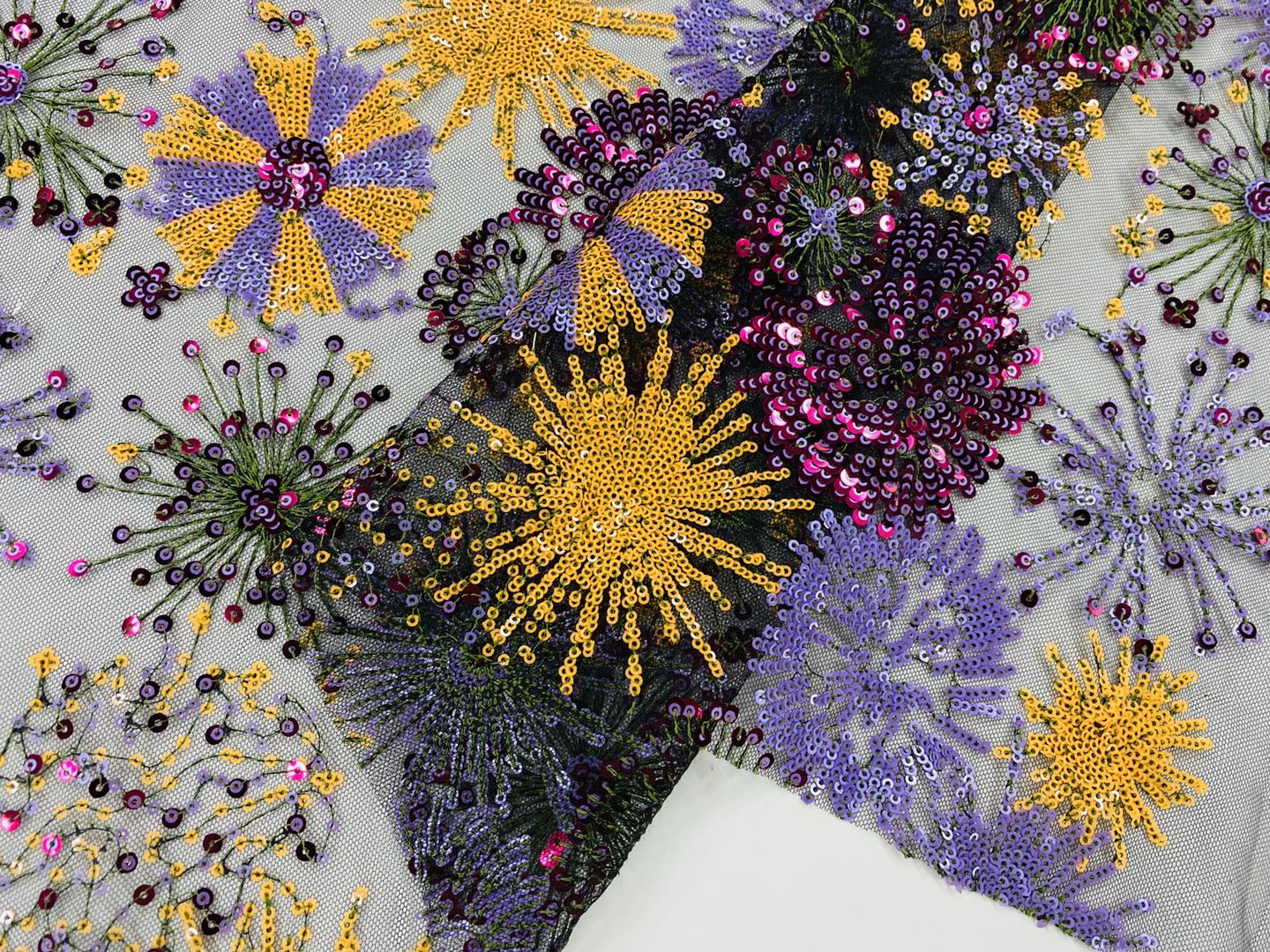 Blooming Fireworks Embroidery Fabric