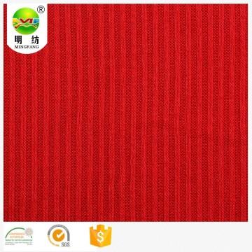 Polyester viscose elastane striped organic rib knit fabric
