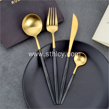 Portuguese Black Gold Knife And Fork Spoon