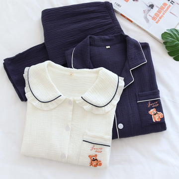 Women cotton long sleeve home clothes Pajama Suit