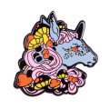 Colorful horse badge mushroom forest nature art jewelry