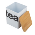 Tea Caddy Storage Canister UK with Wooden Lid