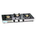 Toughened Glass Gas Stove 3 Brass Burners