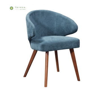 Nodic Fabric Dining Chair na may Solid Wood Leg