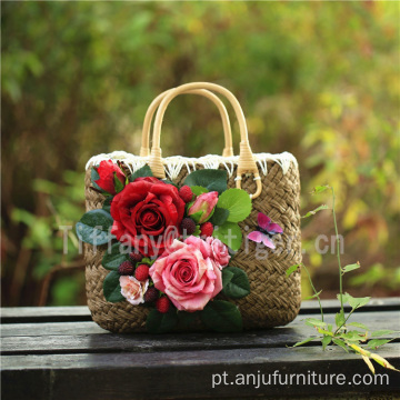 Flowers straw bags wholesale straw plaiting handbags