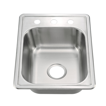 Topmount three holes single bowl sink