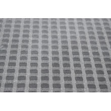 Nylon Metallic Spandex White Checks Mesh Fabric