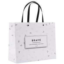 White textured paper bags with logo printing