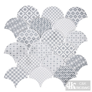 Glossy Fish Scale Kitchen Inkjet Mosaic