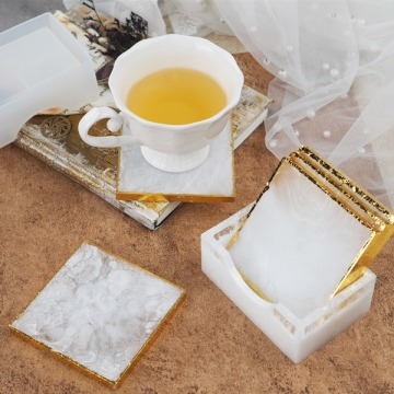 Square Coaster Silicone Mirror with Coaster Storage Box for Diy Jewelry Making Casting Moulds for Resin