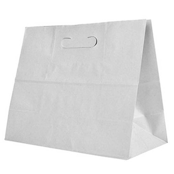 A flat bottom kraft paper bag