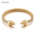 Womens Stainless Steel Gold Skull Cuff Bracelet