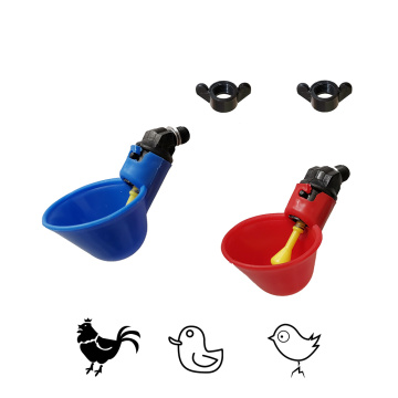 Automatic Poultry Livestock Drinking Cup Bird Feeding Equipment Chicken Flock Duck Bird Water Feeder Red and Blue