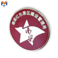 Custom red color printing logo pin badge