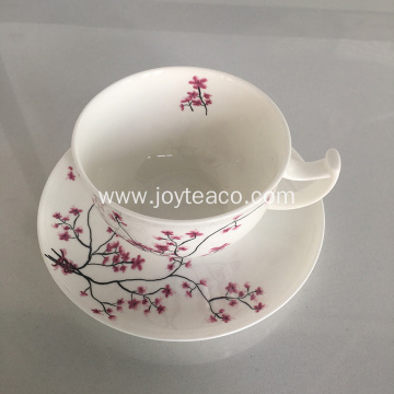 Ceramic Bone Porcelain Tea Cup and Tray Set