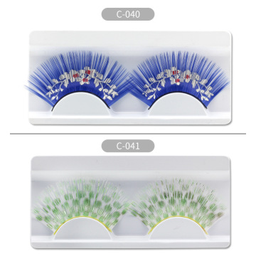 Colorful exaggerated false eyelashes with carton pattern