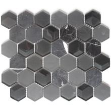 Black Color 3D Effect Hexagon Mosaic Tile