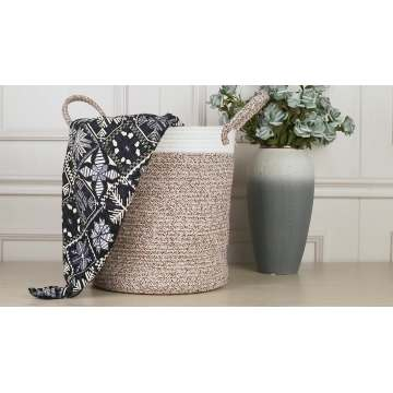Large Foldable White Storage Baskets Laundry Basket Cotton Rope Material