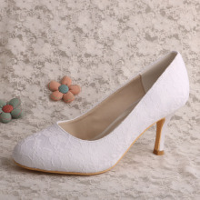 Elegant Lace Wedding Ivory Shoes Closed Toe