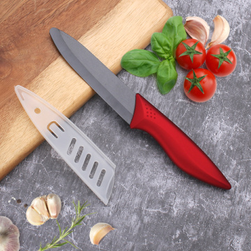 5 Inches Red Rose Handle Black Ceramic Knife