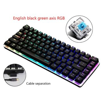 2020 NEW AK33 82 Keys Mechanical Keyboard Russian/English Layout Gaming Keyboard RGB Backlight Wired Keypad L29K